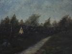 """A.M. SCHER. """"Paisagem de Campo"""", óleo s/ madeira, assinado no CID, medindo 19 x 25 cm. Emoldurado, medindo 27 x 32 cm."""