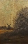 """A.M. SCHER. """"Paisagem com moinho"""", óleo s/ madeira, assinado no CID, medindo 20 x 15 cm. Emoldurado, medindo 29 x 23 cm."""