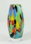 Vaso em vidro multicolorido . Medidas 22 x 7 cm.