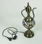 Luminária turca em metal e mosaico. Alt. 38 cm.