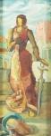 """EUGENIO DE PROENÇA SIGAUD. """"Estudo para Painel da Justiça da decoração da Catedral de Jacarezinho-PR"""", encaustica s/madeira, 63 x 25 cm. Assinado, intitulado e datado no verso, 1954.. Emoldurado, 91 x 53 cm."""