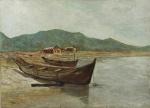 """VIRGILIO LOPES RODRIGUES. """"Canoas na praia"""", óleo s/tela, 53 x 73 cm. (restaurado). Assinado no CIE. Sem moldura."""