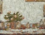 """ZÉ PAULO - """" Flores e pincéis"""" OSM, ass no CID e verso, datado de 1985, med. 47x39 cm, c/ moldura 57x64 cm"""