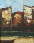"""ZÉ PAULO - """" Marinha c/ barcos"""" OSE, ass no CID, datado de 79, med. 40x32 cm, c/ moldura 67x58 cm"""