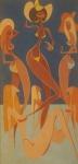 LAN -  téc. mista s/ cartão, sem assinatura, medindo 46x22 cm, moldura 55x31 cm - Desenho feito sob encomenda para Casa Veneza