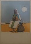 CARYBE - Mulher c/ criança, serigrafia 74/100, medindo 42x21 cm, moldura c/ vidro 48x38 cm, assinado no CID
