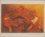 MIRYAM POSTAL -  Crianças brincando, serigrafia 550/340, assinada no CID, medindo 26x30 cm, moldura c/ vidro anti reflexo 43x49 cm
