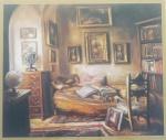 Quadro decorativo, impressão interior quarto, moldura c/ vidro, medida total 64x70 cm. (manchas do tempo)