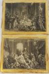 2 gravura preto/branca, emolduradas, medindo total 52x70 cm. (no estado, gravuras c/ rasgos, molduras c/ desgastes)