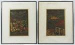 """HOMES NEVES.   Par de quadros .""""Igreja de  Ouro Preto"""", óleo s/eucatex, 31x21 cm.  Assinado. Emoldurado, 52 x 42 cm. e """"Casarios de Ouro Preto"""", óleo s/eucatex, 31 x 21 cm. Assinado. Emoldurado, 52 x 42 cm. (paspatour com manchas do tempo) ."""