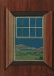 """R.DEPAOLI . """" A solidão da janela"""", òleo s/eucatex, 21 x 15 cm. Assinado no Cid ,  intitulado, datado e assinado no verso, 1972.  Emoldurado, 43x37 cm ."""