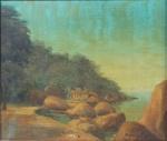 """ROBERTO DE SOUZA. """"Trecho da Ilha de Paquetá ( Covanca) """", óleo s/madeira,24 x 28 cm. Assinado no CID e verso, datado e intitulado. Emoldurado, 39 x 43 cm."""