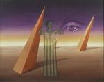 """WILMA LACERDA. """" A justiça sem vendas entre ambos; o mistério e o mundo"""", óleo s/tela, 40 x 50 cm. Assinado, intitulado e com dedicatória no verso, datado,1975/1976. Emoldurado, 56 x 66 cm."""