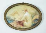 """Pequeno quadro oval. """"Figura feminina"""", aquarela, 11 x 11 cm. Emoldurado com vidro, 10 x 11 cm."""