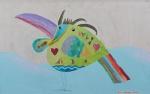 """LUCAS PENNACCHI. """"Pássaro"""", técnica mista s/placa , 45 x 70 cm. Assinado e datado no CID, 13/9/2007. Emoldurado, 59 x 85 cm.Acompanha certificado."""