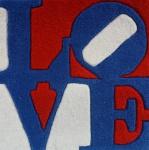 """ROBERT INDIANA. """"Love"""". Tapeçaria de lã. Edição limitada. Exclusive for Galerie-Fº 2006 nº 324. Medidas 40 x 40 cm. Com certificado no verso."""