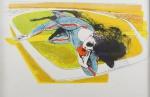 """SANDRO CHIA. """"Sem Título"""", litografia, tiragem XVI/XX, 68 x 48 cm. Assinado e numerado à lápis. Emoldurado , 72 x 52 cm. Acompanha certificado da Galeria Robert Billanceri."""