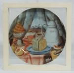 BOTERO. Prato de porcelana. Edição limitada. Acondicionado em caixa com vidro(vidro com trincado). Medidas: prato 25 cm.  caixa 5 x 30 x 30 cm.