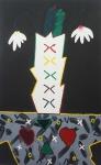 """ANGELO DE AQUINO ( 1947 - 2007). """"Vaso branco, fundo preto"""", óleo s/tela, 160 x 100 cm. Assinado no verso e cache da Galeria de Arte Ipanema. Sem moldura. Angelo de Aquino foi artista plástico e pensador. Inicia formação artística no ateliê do pintor e escultor Roberto Moriconi. É um dos precursores da Arte Postal/Mail Art e Videoarte no Brasil. Ao longo de sua carreira, iniciada em 1964, realiza inúmeras exposições individuais e coletivas no Brasil e no exterior."""
