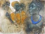 """ELON BRASIL. """"Escravas"""", óleo s/tela, 100 x 130 cm. Assinado no CSE. Sem moldura."""