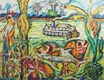 """CARLOS SORENSEN. """"Floresta Amazônica"""", óleo s/tela, 70 x 90 cm. Assinado frente e verso. Emoldurado, 73 x 93 cm."""