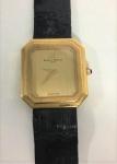 Relógio de pulso, Baume & Mercier Geneve -  Swiss Made - Quartz Damenuhr nº 38356 ,  em ouro amarelo, vidro de safira, mostrador s/ algarismos, pulseira em couro, marca da relojoaria, caixa 23.5 mm.