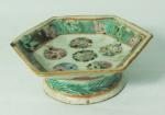 Pequeno covilhete  em porcelana chinesa sextavada Cia. das Índias, 11cm de diâmetro.