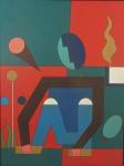 """DIONISIO DEL SANTO. """"Figura"""", Acrílico s/tela, 80 x 60 cm. Assinado e datado no verso, 1986. Sem moldura."""