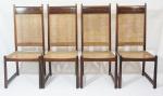 BERNARDO FIGUEIREDO (1934-2012)- Excepcional conjunto de 12 cadeiras, em jacarandá, assento e encosto em palhinha natural, móvel autentico anos 60, medindo 112 x 48 x 48 cm cada. OBS ( Uma faltando o assento e outra com rasgo na palhinha )