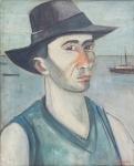"""JOSE PANCETTI. """"Auto retrato"""", óleo s/cartão, 46 x 38 cm. Assinado e datado no CID, 1940. Emoldurado, 65 x 37 cm. Acompanha certificado de autenticidade emitido pelo  critico e professor  Jose Roberto Teixeira Leite."""