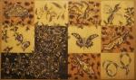 """JEAN LURÇAT. Tapeçaria francesa feita nos ateliês de """"Aubusson"""", decorada com flores , insetos e animais. Assinada no CIE. Emoldurada, 1,50 x 2,50 = 3,75 m2"""