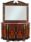 """Imponente dunquerque e espelho estilo """"Boulle"""", ricamente trabalhado e guarnecido em bronze com 4 gavetas e 4 portas. Tampo em mármore duplo rosa.Medidas 47 x 193 cm Alt. 108 cm."""
