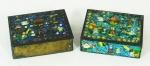 Lote composto por duas caixas em metal cloisonné com decoração policromada medindo 3,5x10,5x8cm.