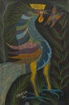 SILVA, Chico da (Francisco Domingos). Galo. 1975. O.S.T., 67 x 45 cm (sm) e 90 x 68 cm (c/m). Assinado e datado no CIE. OBS: Este quadro faz par com o lote ...
