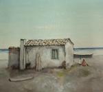 LAZZARINI, Domenico. Casario na praia. O.S.T., 33 x 41 cm (sm) e 65 x 74 cm (c/m). Assinado no CID. Estado: Pintura apresenta craquelê e a moldura possui pequeno danificado.