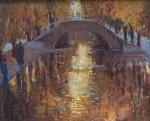 CAMARGO, Rosa Maria Correa. Canal Saint Martin, Paris. 1954. O.S.T., 65 x 81 cm (sm) e 95 x 111 cm (c/m). Datado no CID.