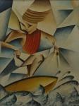 RIBEIRO, Damião Martins. Surfista. 1987. O.S.T., 46 x 35 cm (sm) e 62 x 51 cm (c/m). Assinado e datado no CSE.