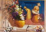 """MANOEL COSTA. """"O vaso amarelo"""", óleo s/tela, 70 x 100 cm.Assinado e datado frente e verso, 2011.Emoldurado, 102 x 133 cm. Acompanha certificado de autenticidade da Galeria de Arte  Alphaville."""