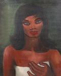 """DI CAVALCANTI - """" Mulata"""" óleo sobre tela, assinado no CSE, datado de 1950, atrás carimbo Petite Galerie, medindo 60x60 cm, com moldura 80x67 cm"""