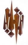 JOAQUIM TENREIRO- Escultura em madeira nobre com elementos geométricos tridimensionais.