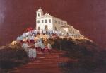 """ROMANELLI- """"Procissão em Saquarema"""" óleo sobre tela, assinado frente e verso, datado de 1990, medindo 70x100 cm, c/ moldura 101x130 cm"""