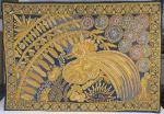 COLAÇO - Tapeçaria com fio de ouro, representando galo, medindo 85x123 cm