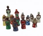 """HELIO LAGE - """"Orixás"""", Ipanema, RJ, conjunto em papel machê composto por 13 peças de tamanhos variados, de 22 a 12 cm. Algumas necessitam restauro."""