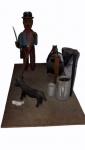 """ANTÔNIO DE OLIVEIRA. """"Tropeiro com burrinho"""", Rio de Janeiro, década de 90, grupo escultórico em madeira policromada com cenas de acampamento, medindo 15 x 27,5 x 14 cm."""