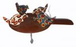 Brinquedo com 4 galinhas articuladas em madeira policromada, sobre raquete de pong pong com peso para articulação, medindo 18 x 18 x 25,5 cm.