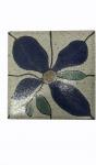 BRENNAND -  Francisco de Paula de Almeida Brennand (1927/2019). Placa de cerÂmica vitrificada, decorada com flor. Assinada no verso, medindo 20 x 20 cm.