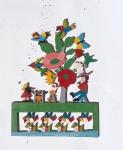 """ALCEU GONÇALVEZ MOREIRA. """"O que o velho quer, chimarrão, churrasco e mulher"""", Lapa-PA, escultura em madeira com policromia para parede, medindo 40 x 29 cm. Assinado e intitulado no verso."""