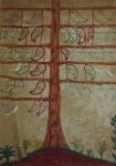 """""""Árvore genealógica"""", técnica mista sobre papel, medindo 44 x 32 cm sem moldura."""