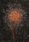 """""""Rosa vermelha"""", guache medindo 30 x 21 cm sem moldura."""