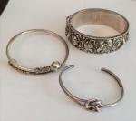 Lote com 3 pulseiras em prata, peso total 80g